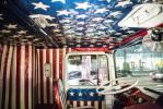 The truck has been restored to as close to original condition as possible, including the red, white and blue cab (bottom left) and Knievel's personal dressing room.