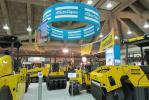Atlas Copco's exhibit was filled with many models of Dynapac compactors and pneumatic rollers.