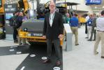 Goren Lindgren, president and CEO of Volvo CE North America, stands proudly in front of his company's new DD110B asphalt compactor. Volvo also unveiled its new Real Time Accurate Density Calculator, developed in a research partnership with the Unive