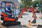 William Merritt enjoyed the Kubota KX018-4 mini excavator competition. The goal was to pick up the basketball with the bucket, and drop it in a bin on the opposite of the dirt pile.