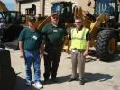(L-R): Lynn Brecht of Brecht Inc. in Lancaster, S.C., Phillip Austin of Austin Grading & Farm Service in Wingate, N.C., and Tony Pennington of Carolina CAT talk about the Caterpillar K series wheel loaders.
