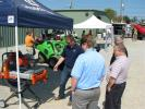 Husqvarna's Kenneth Coleman provides a demonstration of the Husqvarna portable MS 360 masonry saw.
