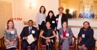 Jessica Frankl photo. Speakers and moderator: (L-R, Seated) Susan Walter, senior principal, Stantec; Gerrard Bushell, president & CEO, DASNY; Maria Torres-Springer, president & CEO, NYC EDC; Samara Barend, senior VP, AECOM Capital; and Stephanie Dawson, C