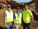 (L-R): Kevin Cummins, Cummins Crushing & Recycling Inc., and Dave Wornell meet on site to discuss machine production with Jay Doran, Crusher Works.