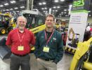 Ron Morgan (L), Yanmar regional sales manager, joins Rick Pileski, Buckeye Power Sales, to discuss the dealership's Yanmar machines.