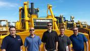 Taking a look at the Komatsu dozers at the auction (L-R) are Paul Oliveira, C.N. Wood Co., and Justin Sailer, Josh Alters, Greg Metzgar and Kris Sherman, all of Komatsu ReMarketing.