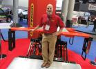 Palfinger's Mike Doerfler demonstrates the company's new tailgate lift.