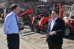 Congressman Ryan Costello (L) and Matt McDonald, president and CEO of Eagle Power & Equipment, discuss issues concerning the construction industry.