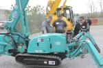 (L-R): Tom Buck, Joe Liegey and Charlie Rees of Hawbaker Crane, check out the Maeda mini-crawler crane.