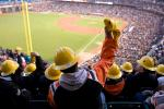More than 200 veterans (all wearing bright yellow hardhats) took over a section of AT&T Park in San Francisco to cheer on Pitcher Madison Bumgarner in hopes of more strikeouts.