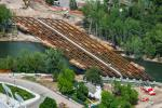 Idaho Airships courtesy of AECOM photo .  Following the placement of the 33 girders, work this spring consists of building of the bridge deck, and work will also commence on the greenbelt and pedestrian and bicyclist access points.