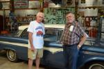 Dave Steffan (L) and Bob Brown of Bridgeport Speedway in Swedesboro, N.J., celebrate State Line Machine's 50th anniversary on June 11 in Wilmington, Del.