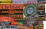 A collage of antique signs and logos of companies, some still around today, as well as companies that were purchased or went out of business.