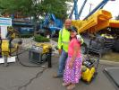 Vincent Randazzo of Randazzo Paving Inc., South Plainfield, N.J., and his daughter, Vianna, bought an Atlas Copco hammer and a compressor during the Foley CAT One Day Sale.