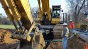 The company is using a Komatsu PC1250 excavator with its conveyor for its current projects.