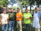 (L-R): Jerry Daniels, Stip Bros. Excavating Inc.; Dave Randolph, Teamsters Local 179; Mike Marquez and Kurt Daugherty, both of Stip Bros Excavating Inc.; and Ted Stipanovich, president of Stip Bros Excavating, enjoy their time at the steak fry.