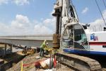 Central Texas Regional Mobility Authority photo. A bridge foundation shaft is drilled at the Springdale Road. overpass.