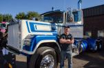 Kyle Pelletier of Truck Builders of Connecticut won 1st place in the tractor division in the truck show contest with his 1986 Mack Superliner.