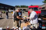 Erik J. Burr, executive chef of Pig Rig BBQ in Wallingford, Conn., was loading anxious customers up with melt in your mouth ribs and brisket.