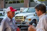 """William """"Bill"""" Dufford (L), founder of Riverview Farms in Glastonbury, Conn., and Doug Hansen, president of W.I. Clark Company, were enjoying catching up at the customer appreciation day."""