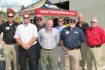 (L-R): Yancey's Alan Berry welcomes a group of customers and friends, including Richard Williams, Doug Myers, Greg Schultz, Bob Cathcart, Dale Cronauer, Keith Stephens, and Bruce Ummel, all of Blount Construction Co., Marietta, Ga.