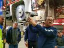 Eufenio Bucol points out the proper alignment of the blade guard on the 4000 saw.