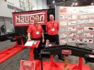 Jeff Haugen (L), president, and Eric Halverson, sales representative, both of Haugen Attachments, Casselton, N.D., stand with their new Smart Hook telehandler weighing system, which debuted at World of Concrete 2017. The system has a wireless design and sends weight info directly to the cab for the hanging weight on your telehandler. Haugen said that the system is an industry first and that his company has received huge interest in this product.