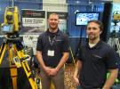 Eric Parrish and Joe Douglas, both of GeoShack, demonstrate latest advances in laser and GPS technologies.
