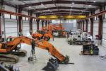 Equipment East's 5,750 sq. ft. service shop features eight double bays, with each bay fully equipped with everything its mechanics need without having to borrow from another station or run hoses and cords from one bay to the other.