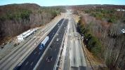 MassDOT photo With Phase I complete, motorists are now using the newly constructed center lanes with AET in place while the outer lane toll plazas are removed.