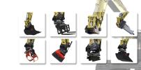 Equipment operators can change between various work tools within a few seconds, such as a hydraulic hammer, steel or concrete shears, sorting grapple, hydraulic magnet, compactor, sorting bucket, tilt bucket or tiltrotator.