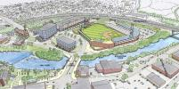 Two possible sites are being surveyed at the moment but this is a rendering of the minor league baseball team's future stadium once constructed.