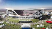 Artist rendering of the proposed stadium located in Hollywood Park in Los Angeles, Cal.
