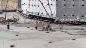 Trucks poured the concrete onto 965 tons of reinforcement steel that also is part of the building's foundation. (Penn Medicine image)