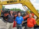 (L-R): Matt Guentter, Kubota business development manager, talks with, Jon Koski, Kobelco district business manager and Jon Brookbank, Kubota regional sales manager at the event.