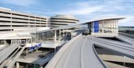 A rendering of the automated people mover station at the main terminal and outdoor terrace. (Tampa International Airport rendering )