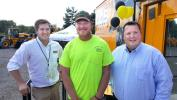 Third-place rodeo winner Nate Hughes (C) of London Grove Township stands with JCB Regional Sales Manager Alex Wood (L) and Stephenson Equipment Branch Manager — Philadelphia Location Jeff Tulish.