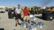 Alfonso Silva (L) and Carlos Castillo of Carcas Trucking of Corona, Calif., are currently working on a project in the Las Vegas area and needed to purchase some quality rims and tires. They found what they were looking for with these new 24.5 x 8.25 aluminum wheels.