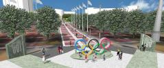 Plazas containing an Olympic Torch sculpture and Olympic Rings will stand at each end of the promenade, which is set to be complete by December 2017.