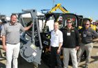 JCB and Loftness team up to showcase their products. (L-R) are Blake Eavenson of Loftness; Ashby Graham, JCB regional sales manager; and from MacKinnon JCB, Neil Rountree, Tifton, Ga., branch, and John Miller, Jacksonville, Fla., branch.