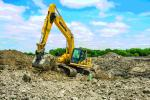 """Komatsu excavators, including PC360LC-11, PC240LC-11 and PC490LC-11 models, are the go-to machines for Blue Star Utilities. """"Trench size and depth, as well as how big the pipe and structures are, determine whether we use a PC490 or PC360,"""" said Owner Jose Guamancela. """"We often attach a compaction wheel to the PC240s to pack down backfill materials. All have good power and are productive and efficient."""""""