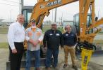 (L-R): Michael Meehan, Atlas Copco; Gene Wheeler and Keith Nelson, both of the Ohio County Road Department; and Travis Clement, Diamond Equipment, enjoy their time at the event.