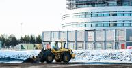 Volvo machines are working on the new city center, preparing it for new apartments and stores.