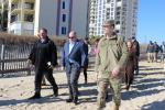 (L-R): Maryland Secretary of Natural Resources, Mark Belton; Maryland Gov. Larry Hogan; and U.S. Army Corps of Engineers, Baltimore District Commander Col. Ed Chamberlayne visit the coastal storm risk management project on Nov. 20.