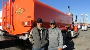 Tyler (L) and Medina Rafael of Las Vegas-based Rafael Construction came in search of some additional equipment for their growing framing business. This 2000 International 9900I water truck would make a great addition to the family business.