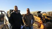 Tyler Dennison (L) and Cy Keller of Keller Equipment, Yucaipa, Calif., are looking for quality equipment for resale. This 2011 Bobcat T190 multi-terrain loader has their attention.