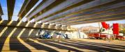 The girders are the first placed for the Arizona Department of Transportation's South Mountain Freeway project.