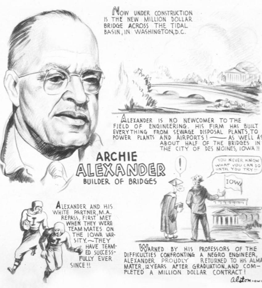 The Archie Alexander biographical cartoon Charles Alston drew in 1943.