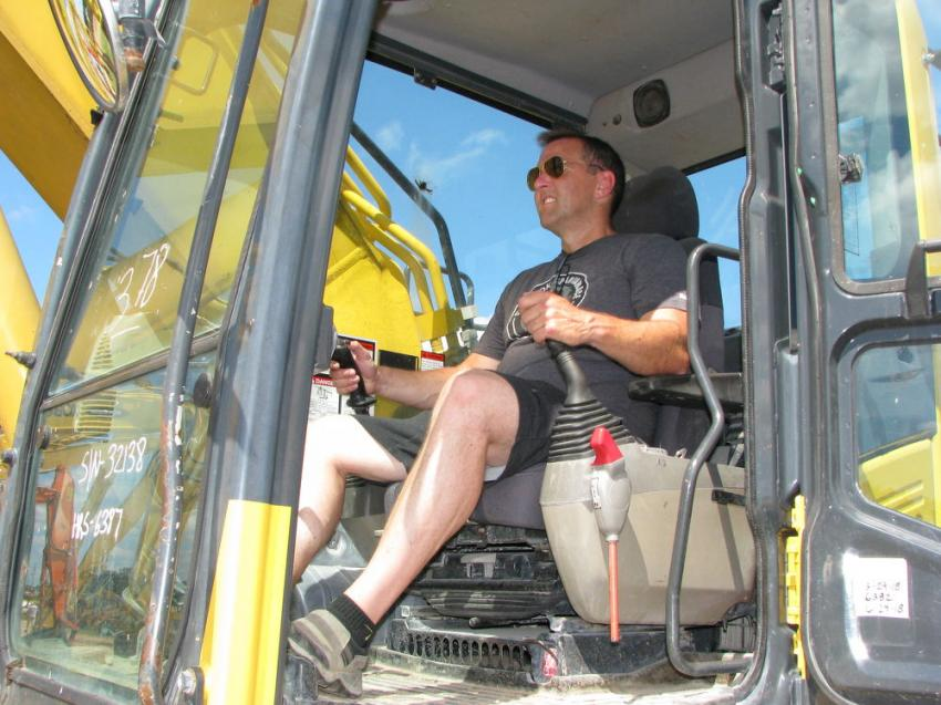 Test operating a Komatsu PC360LC is Tim Crean of Crean Equipment, Rutland, Vt.