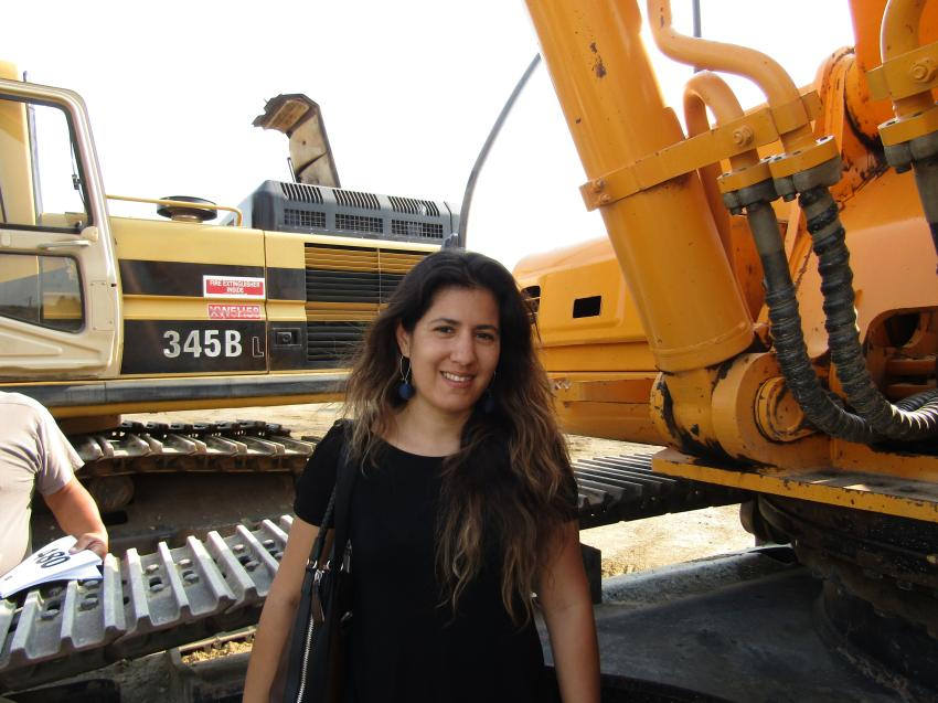 Alejandra Lua of Riverside, Calif., came to help her dad out with his equipment export business in Michoacan, Mexico. Lua is looking for equipment such as this 2006 Hyundai Robex 360LC-7 excavator.